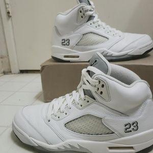 Jordan 5 white metallic silver